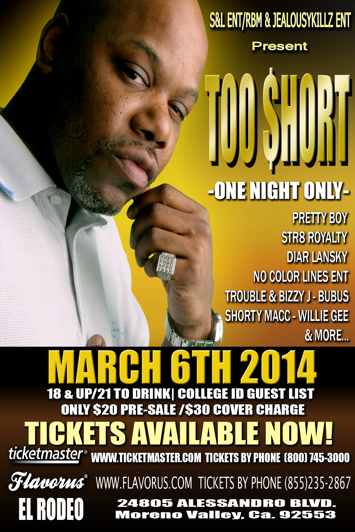 Buy Tickets To Too Short In Moreno Valley