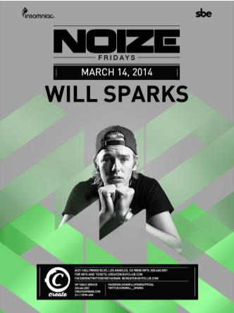 NOIZE FRIDAYS - WILL SPARKS: Main Image