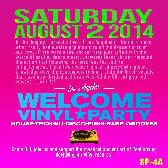 Welcome vinyl party Sat Aug 2: Main Image