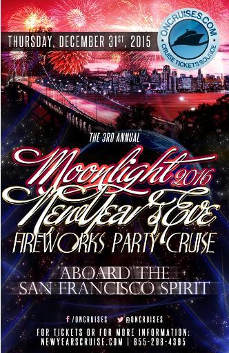 The 3rd Moonlight NYE Fireworks Cruise- San Francisco Spirit