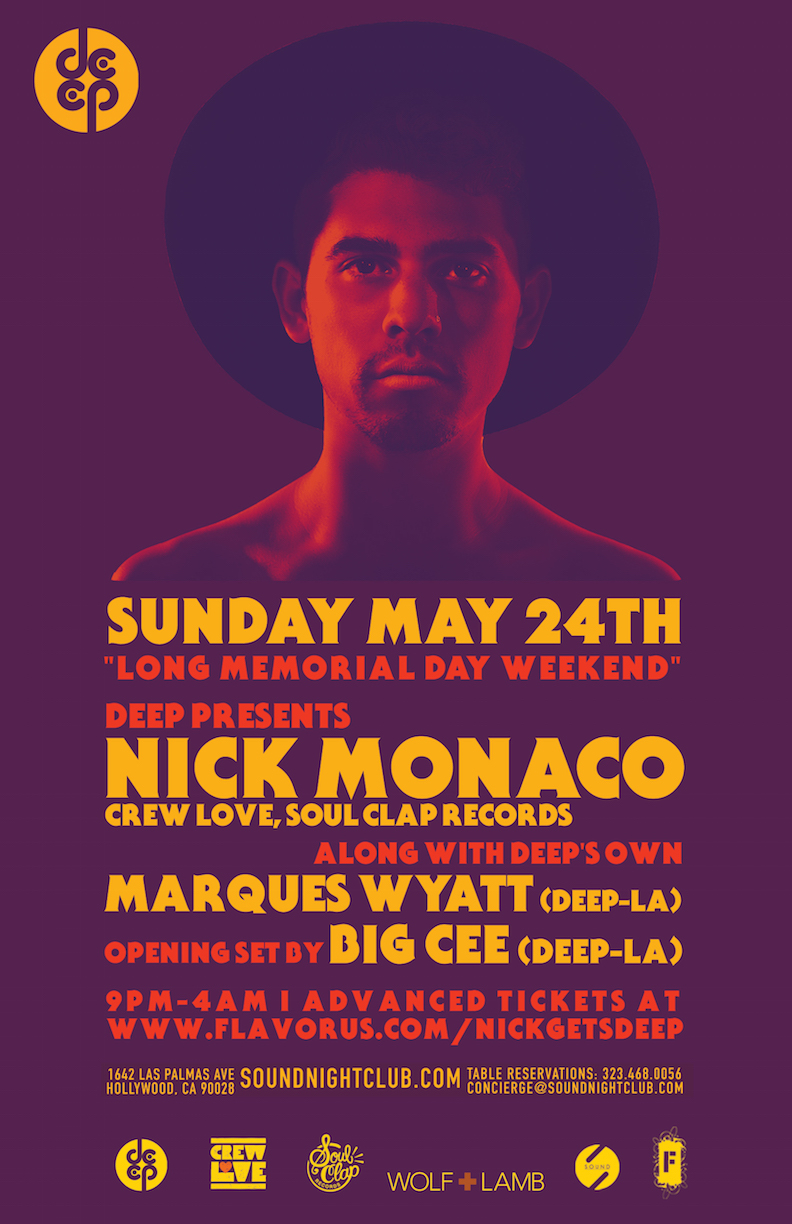 DEEP Pres NICK MONACO Tickets 05/24/15