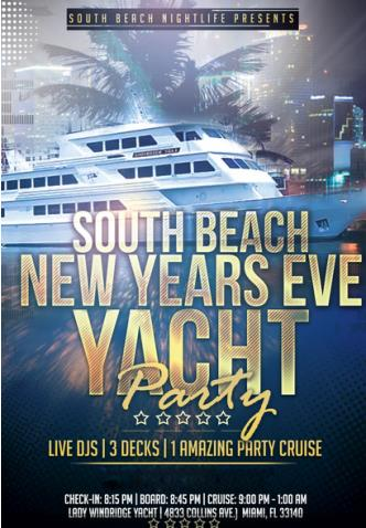 South Beach NYE Fireworks Yacht Party 2016
