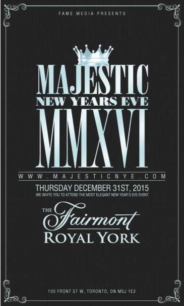 Majestic NYE 2016 at Fairmont Royal York