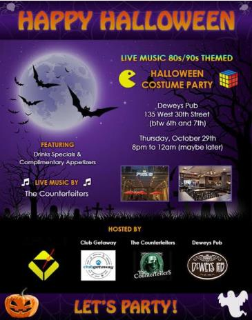 Live Music 80s/90s Themed Halloween Costume Party!