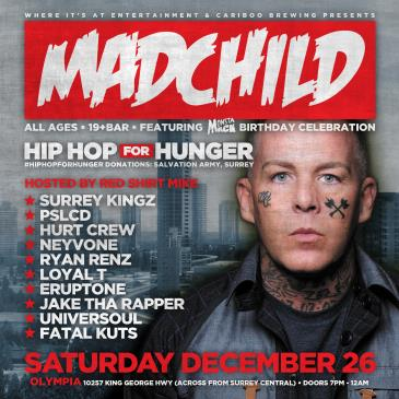 Madchild, Prada West & Guests (All Ages) #HipHopForHunger
