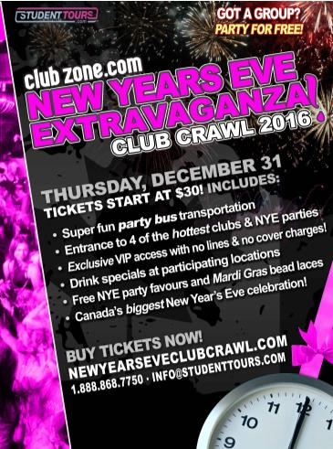 Regina NYE Club Crawl 2016