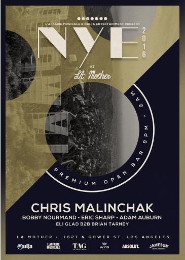 NYE 2016 feat. Chris Malinchak - 5 HOUR PREMIUM OPEN BAR