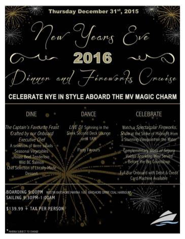 New Years Eve 2016 Dinner & Fireworks Cruise