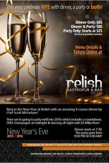 NEW YEAR'S EVE 2015/2016 AT RELISH