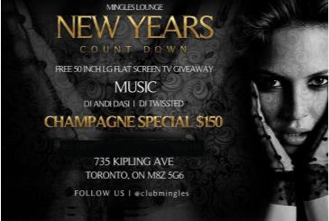 2016 NEW YEARS EVE COUNT DOWN @ MINGLES LOUNGE TORONTO