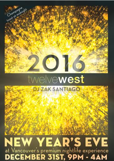 New Year's Eve 2016 at Twelve West