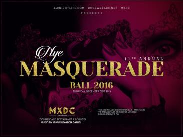 11th Annual New Years Eve Masquerade Ball at MXDC