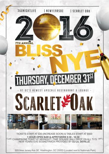 New Years Eve at Scarlet Oak - Bliss 2016
