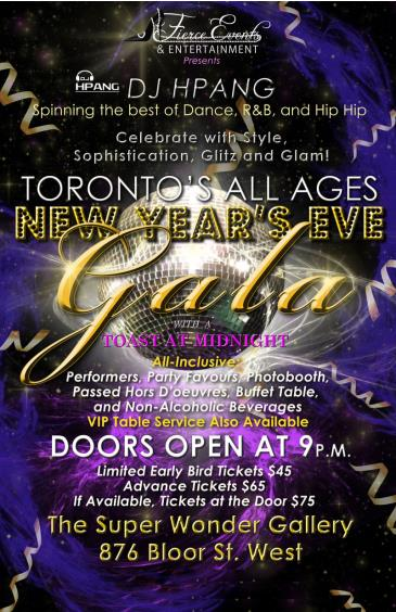 TORONTO'S ALL AGES ALL-INCLUSIVE 2016 NEW YEARS EVE GALA