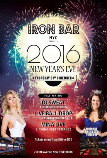 Celebrate New Years Eve @ Iron Bar NYC / Time Square