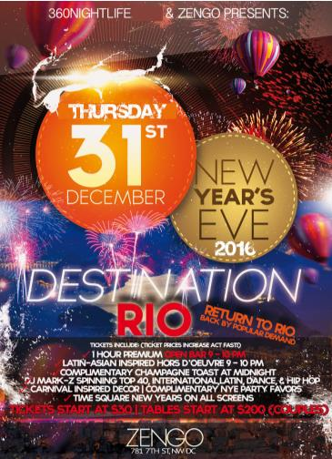 New Year's Eve at Zengo | Destination Rio Party