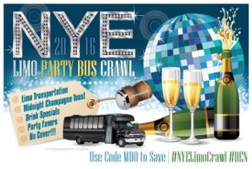 NYE Limo Bus Crawl - Denver New Year's 2016
