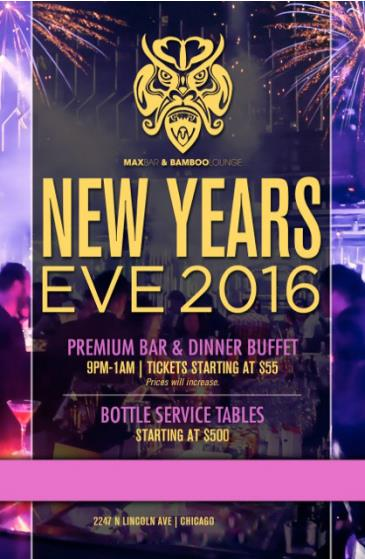 NYE 2016 at Max Bar & Bamboo Lounge