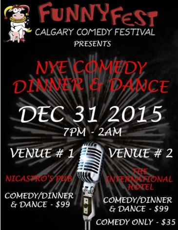 FunnyFest NYE Comedy, Dinner & Dance - 3 VENUES to CHOOSE