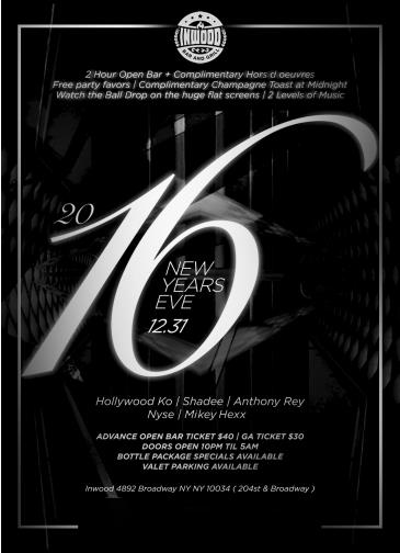 New Years Eve at Inwood Lounge with Open bar
