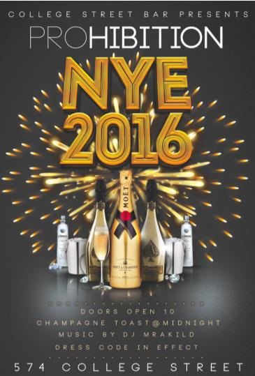 NEW YEARS EVE 2016 AT COLLEGE STREET BAR