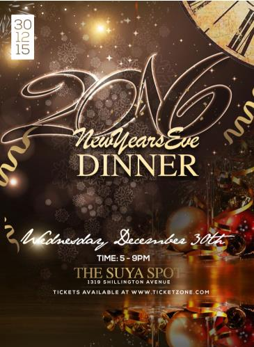 NEW YEAR'S EVE DINNER WEDNESDAY DEC. 30TH 2015
