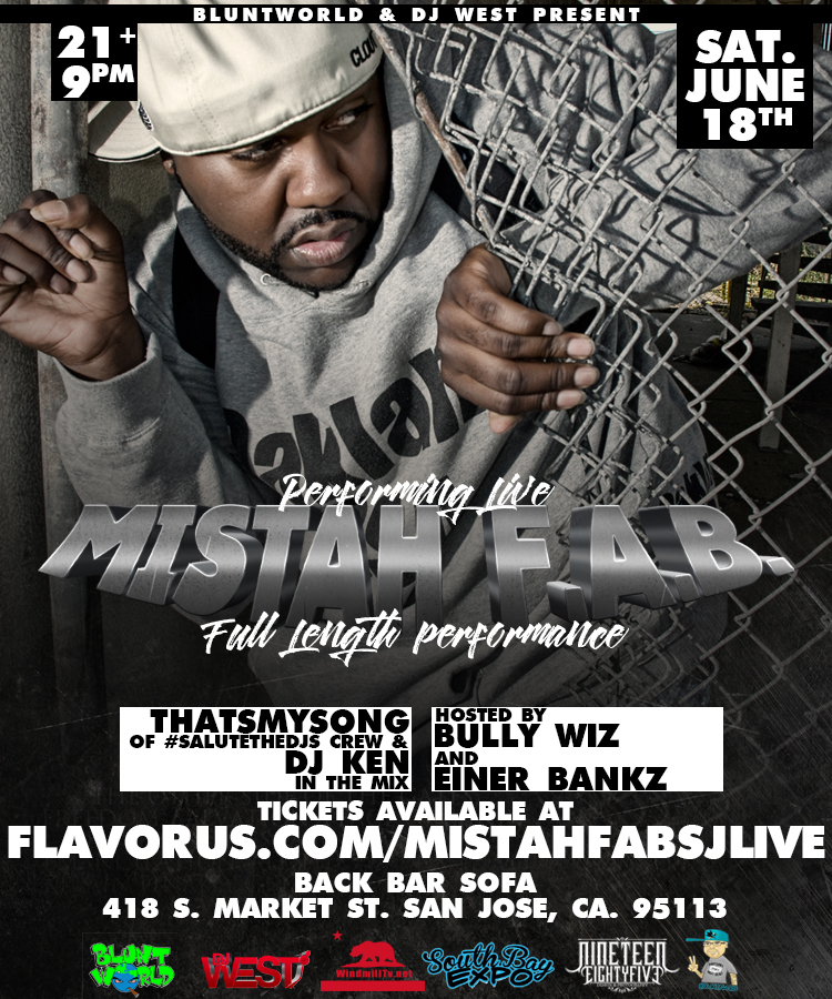 Mistah fab performing live tickets 06 18 16 for Back bar sofa san jose