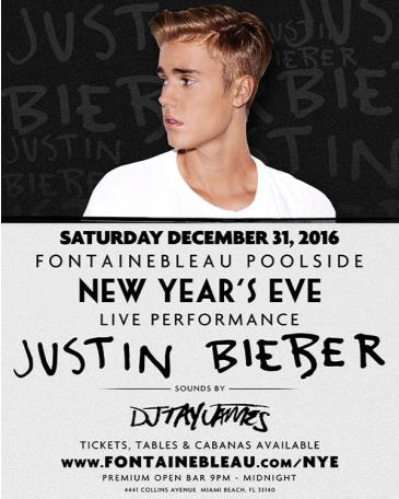 Justin Bieber LIVE Fontainebleau Poolside NYE: Main Image
