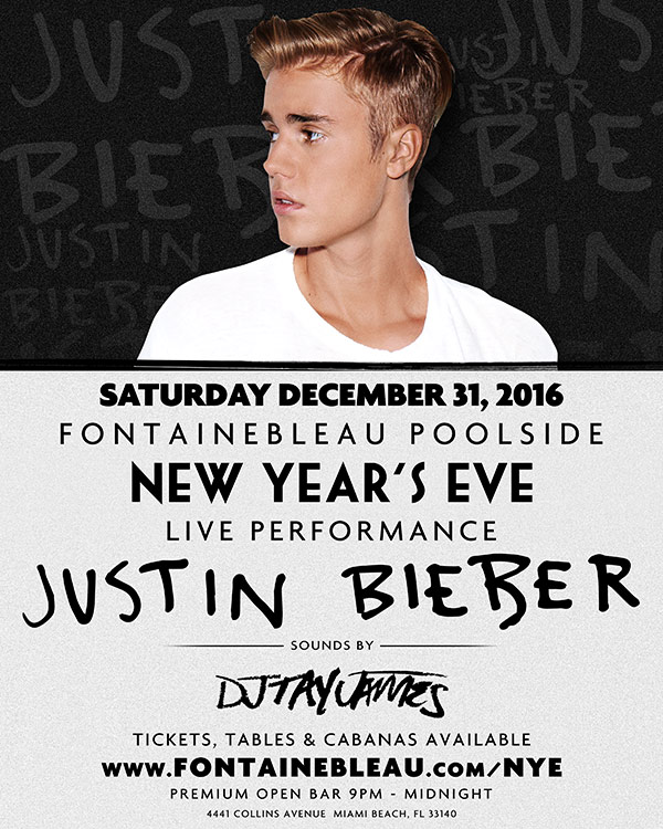 Justin Bieber Live Fontainebleau Poolside Nye Main Image