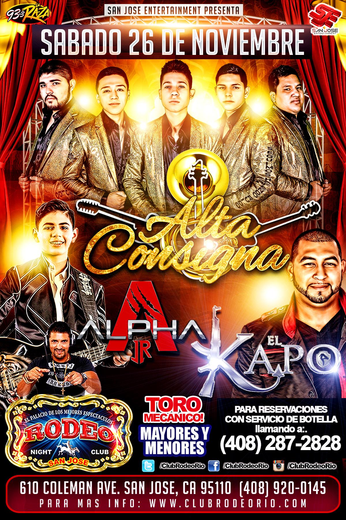 Alta Consigna Tickets The Rodeo Night Club On November