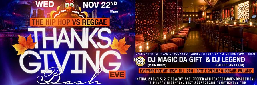 Katra Thanksgiving Eve party 2017 Tickets Party   GametightNY.com