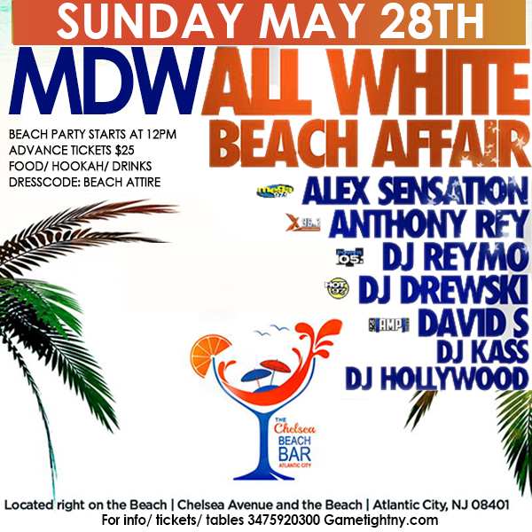 cchelsea Beach Bar All White Memorial Day Weekend party 2017NYC | GametightNY.com