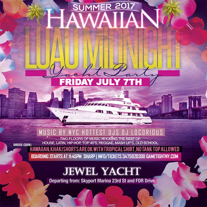 NYC Hawaiian Luau Midnight Yacht Party Skyport Marina Jewel
