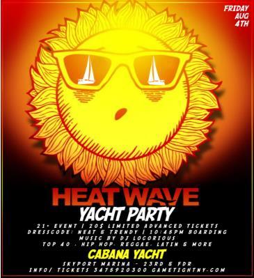 Summer Heatwave Yacht Party at Skyport Marina Cabana Yacht: Main Image