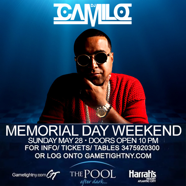 MDW Dj Camilo Harrahs Pool Party Pool After Dark in AC 2017 Tickets Party | GametightNY.com