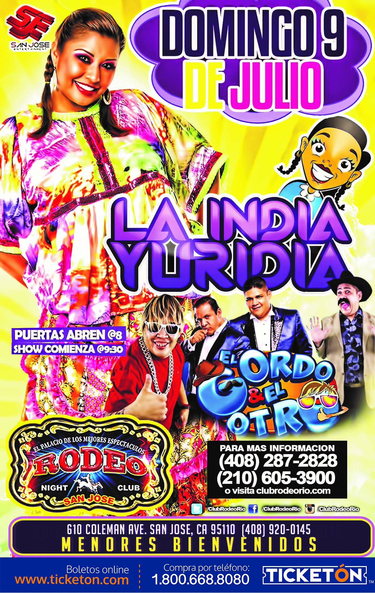La India Yuridia San Jose Tickets Boletos El Rodeo