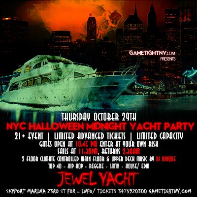Halloween Midnight Yacht Party Cruise at Skyport Marina Jewel Yacht Thurs Oct 29th, 2020 Tickets Party | GametightNY.com