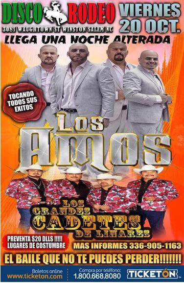 Los Amos De Nuevo Winston Salem Tickets Boletos Disco Rodeo