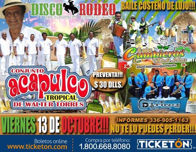 Acapulco Tropical Winston Salem Tickets Boletos Disco Rodeo