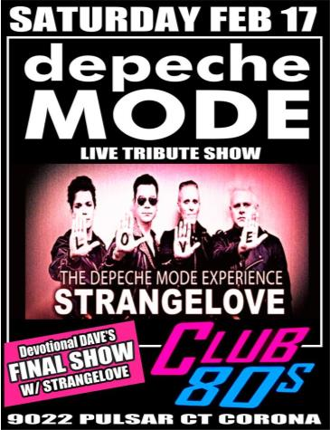 Strangelove - The Depeche Mode Experience at Club 80s: Main Image