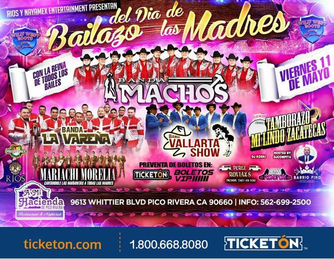 Bingo Show Dia De La Madre Viernes 11 De Mayo: Dia De Las Madres Tickets Boletos Mi Hacienda De Pico Rivera