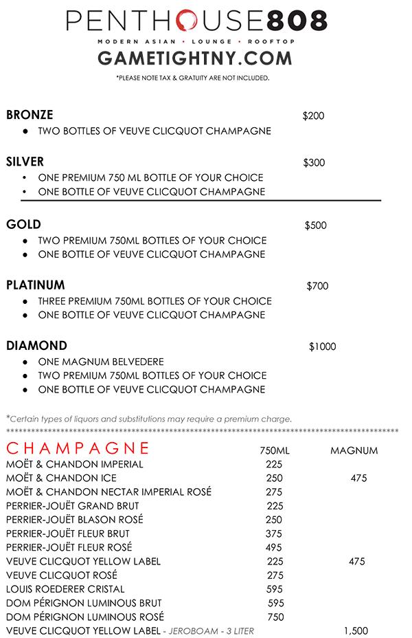 Ravel Penthouse 808 Bottle Service | GametightNY.com