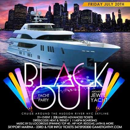 JEWEL YACHT BLACKOUT CRUISE YACHT PARTY AT SKYPORT MARINA 2018 | GametightNY.com
