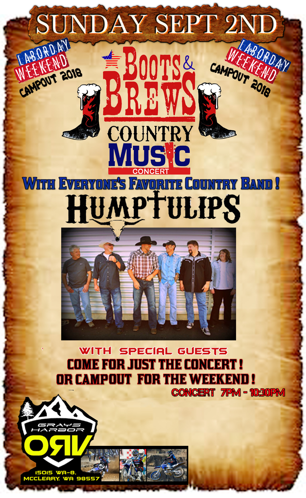 Boots and Brews Country Music Concert Tickets 09/02/18