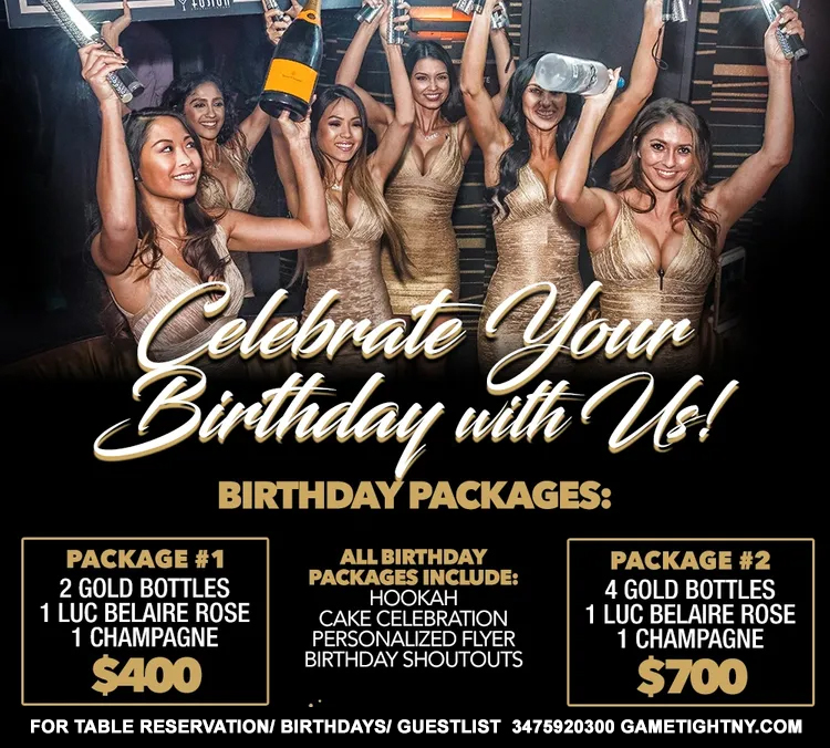 Bottle Package at Fusion Lounge NY | GametightNY.com