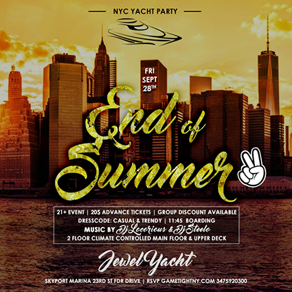 END OF SUMMER NYC YACHT PARTY AT SKYPORT MARINA 2018 | GametightNY.com