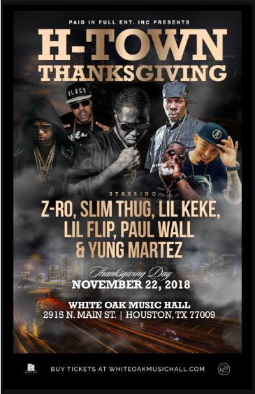H-Town Thanksgiving - Z-Ro, Slim Thug, Lil Keke + More: Main Image