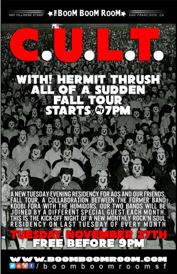 C.U.L.T. - Hermit Thrush, All Of A Sudden, Fall Tour (7pm): Main Image