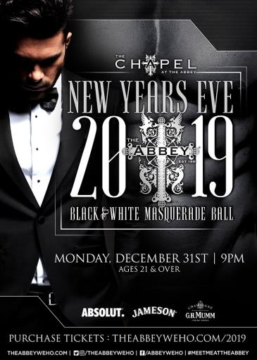 The Abbey Weho's NYE 2019 Black and White Masquerade Ball: Main Image