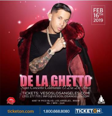 DE LA GHETTO (VALENTINES WEEK SATURDAY CONCERT): Main Image